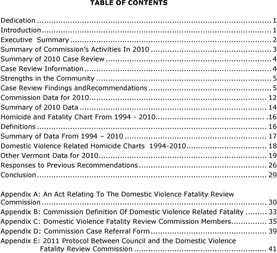 .. 16 Summary of Data From 1994 2010... 17 Domestic Violence Related Homicide Charts 1994-2010... 18 Other Vermont Data for 2010... 19 Responses to Previous Recommendations... 26 Conclusion.