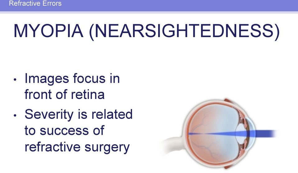 in front of retina Severity is