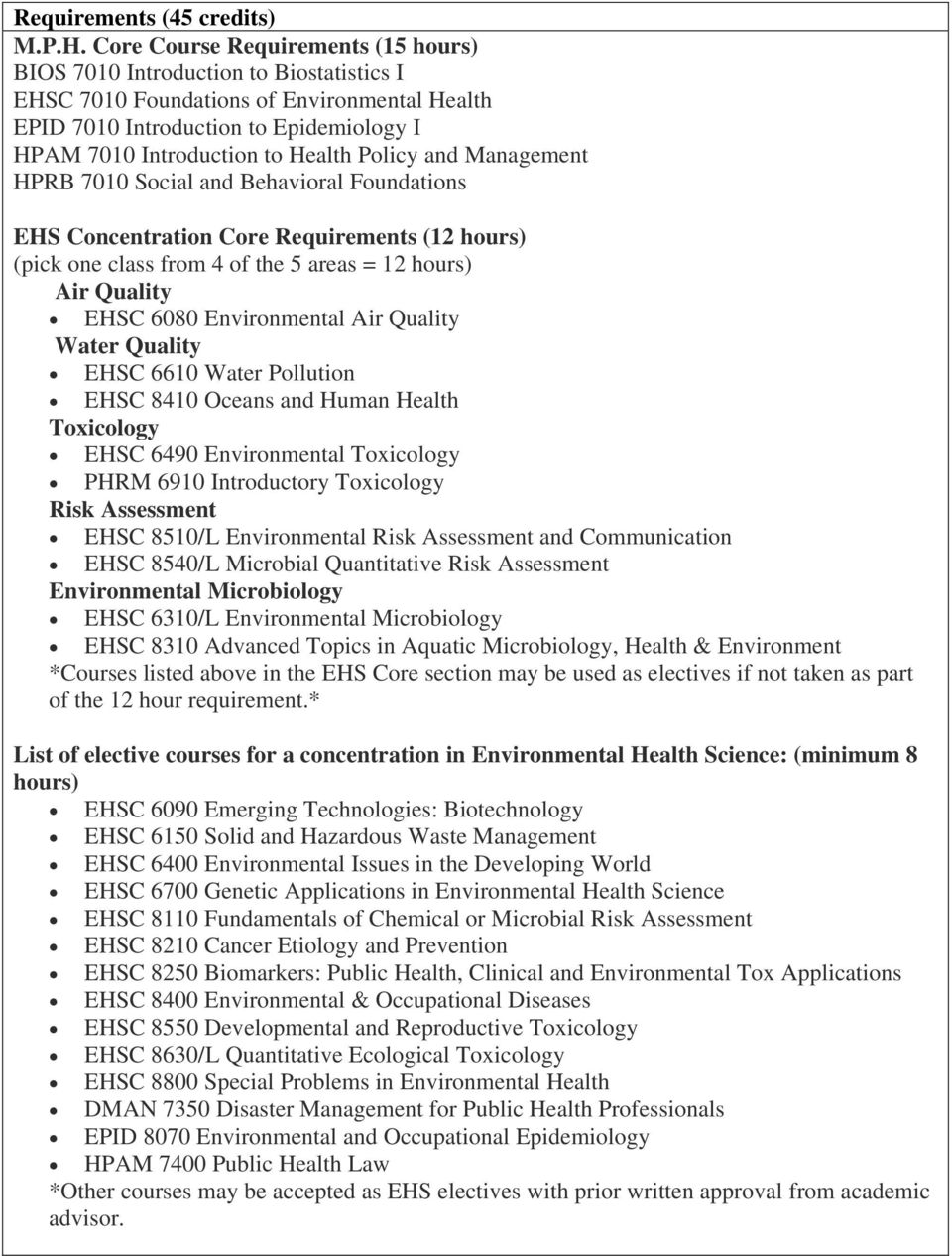 Policy and Management HPRB 7010 Social and Behavioral Foundations EHS Concentration Core Requirements (12 hours) (pick one class from 4 of the 5 areas = 12 hours) Air Quality EHSC 6080 Environmental