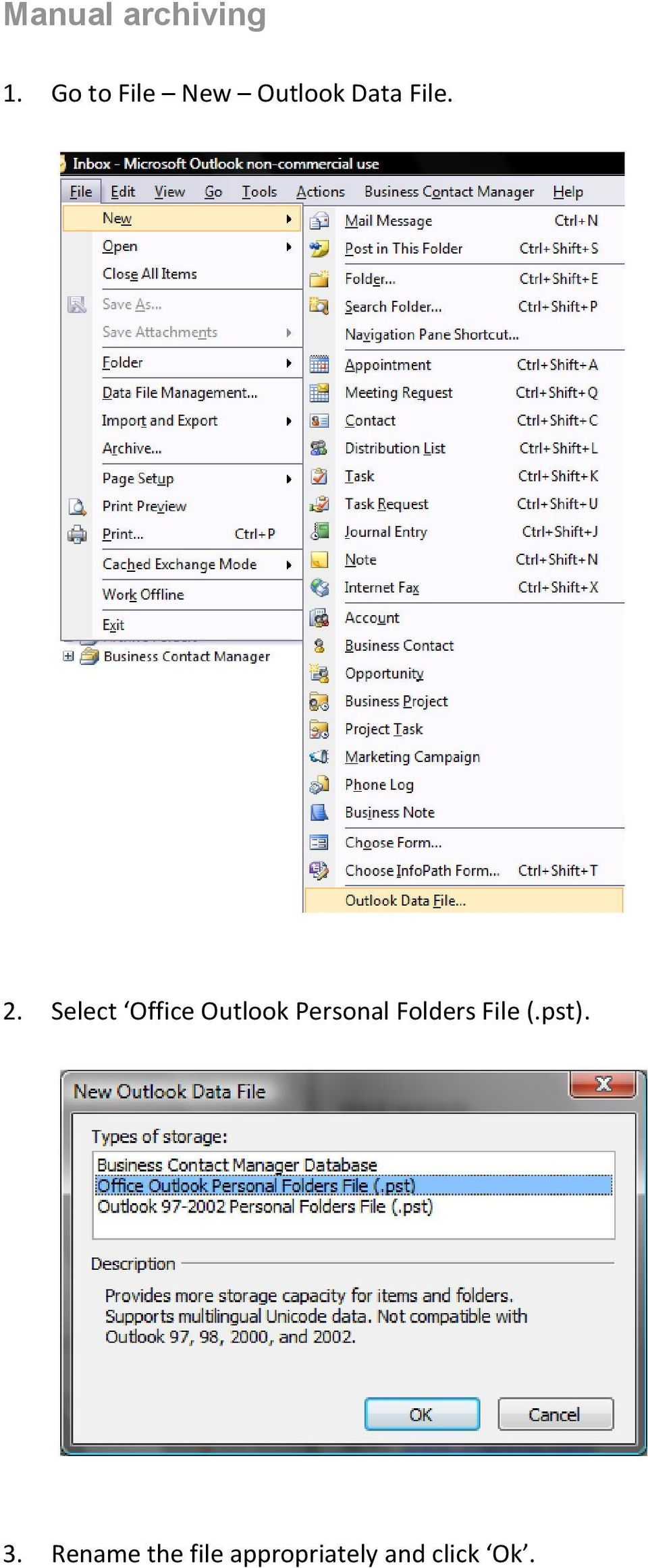 Select Office Outlook Personal Folders