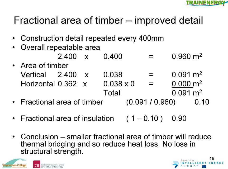 091 m 2 Fractional area of timber (0.091 / 0.960) 0.10 Fractional area of insulation ( 1 0.10 ) 0.