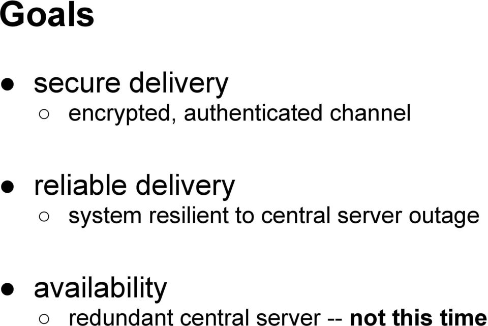 system resilient to central server outage