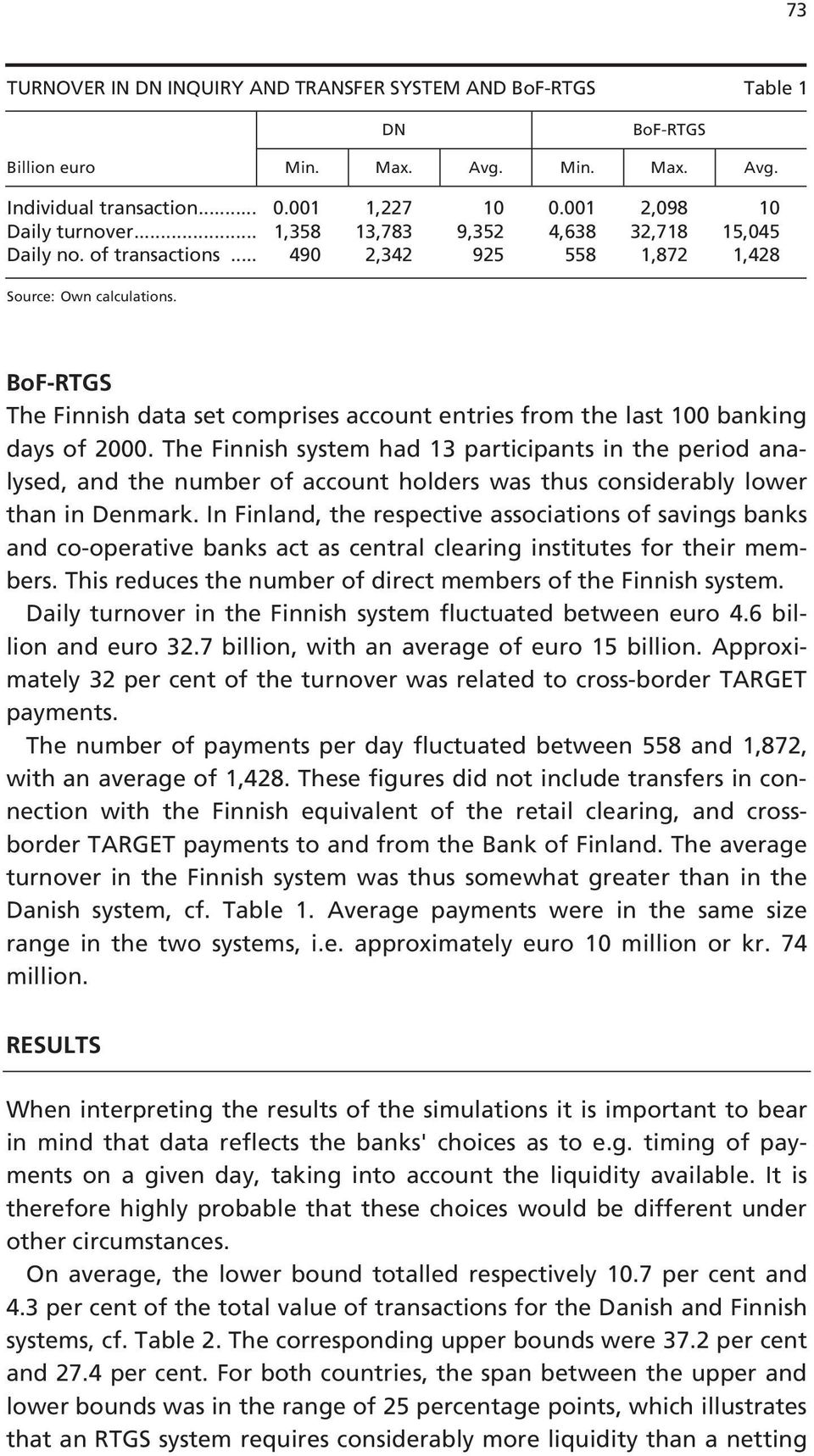 BoF-RTGS The Finnish data set comprises account entries from the last 0 banking days of 2000.