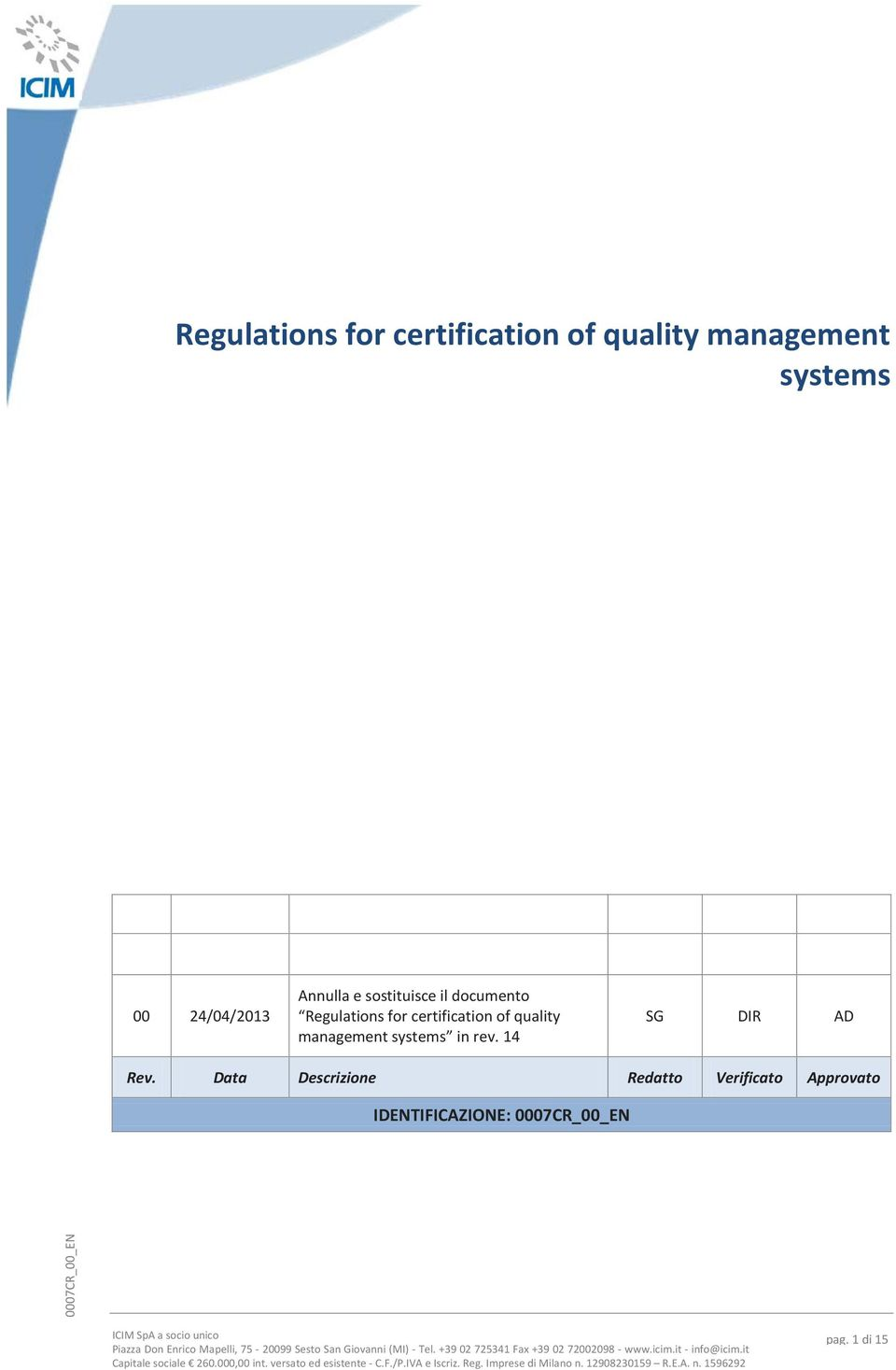 certification of quality management systems in rev.