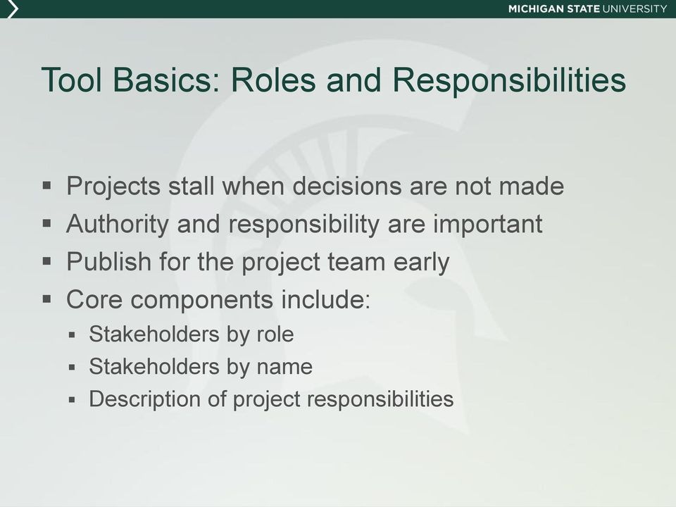 Publish for the project team early Core components include:
