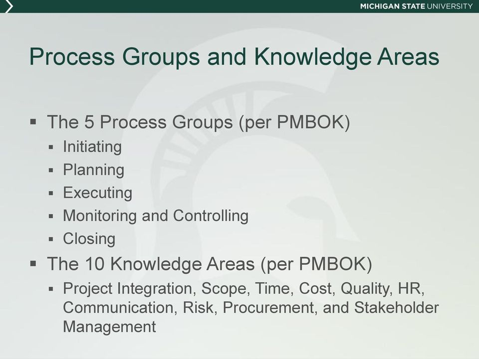 10 Knowledge Areas (per PMBOK) Project Integration, Scope, Time, Cost,