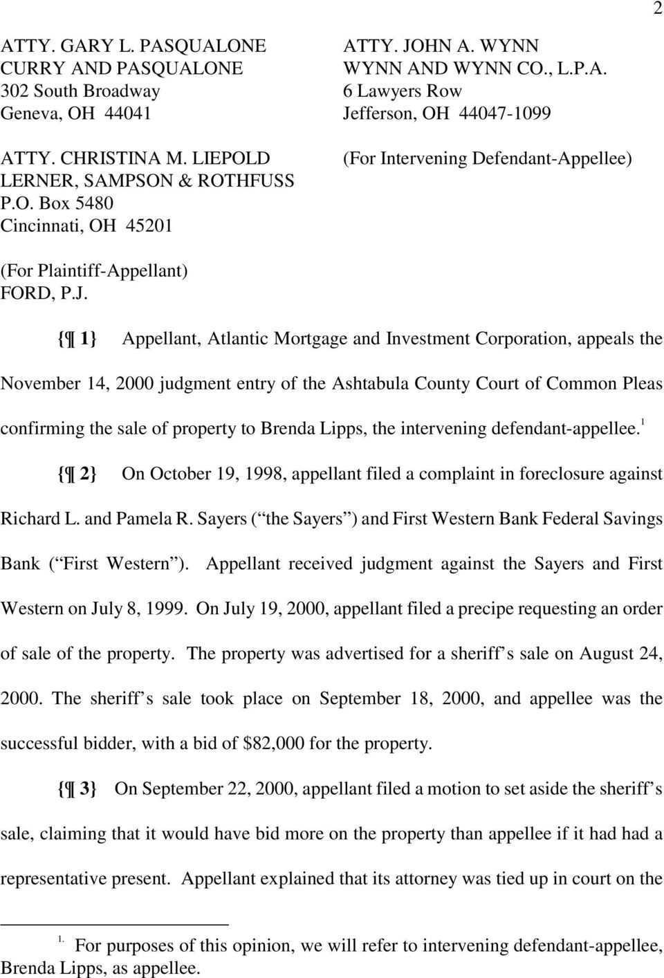 fferson, OH 44047-1099 (For Intervening Defendant-Appellee) (For Plaintiff-Appellant) FORD, P.J.