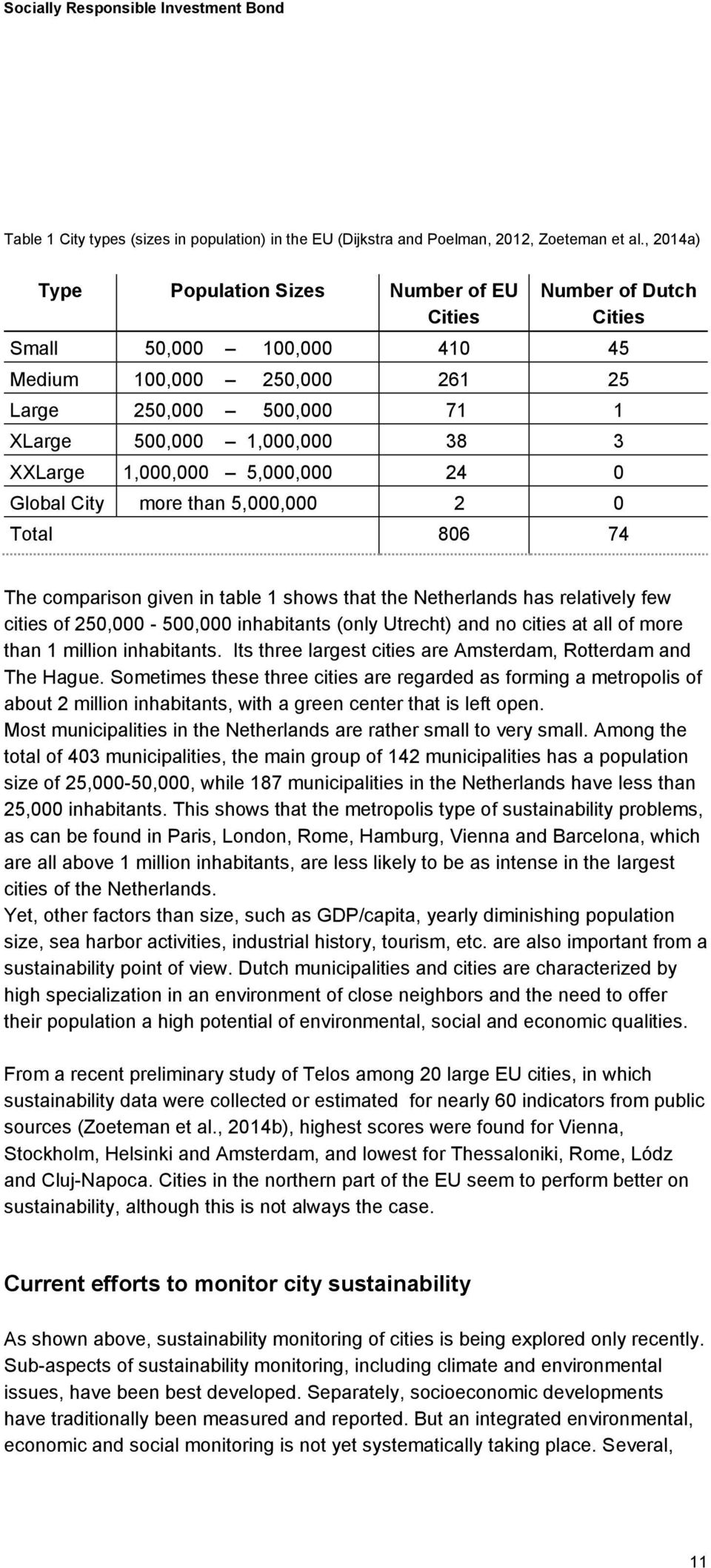 1,000,000 5,000,000 24 0 Global City more than 5,000,000 2 0 Total 806 74 The comparison given in table 1 shows that the Netherlands has relatively few cities of 250,000-500,000 inhabitants (only