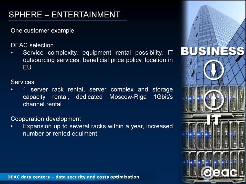 rack rental, server complex and storage capacity rental, dedicated Moscow-Riga 1Gbit/s channel