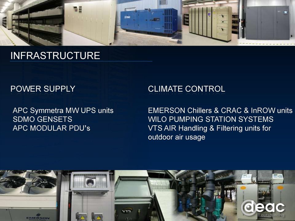 EMERSON Chillers & CRAC & InROW units WILO PUMPING