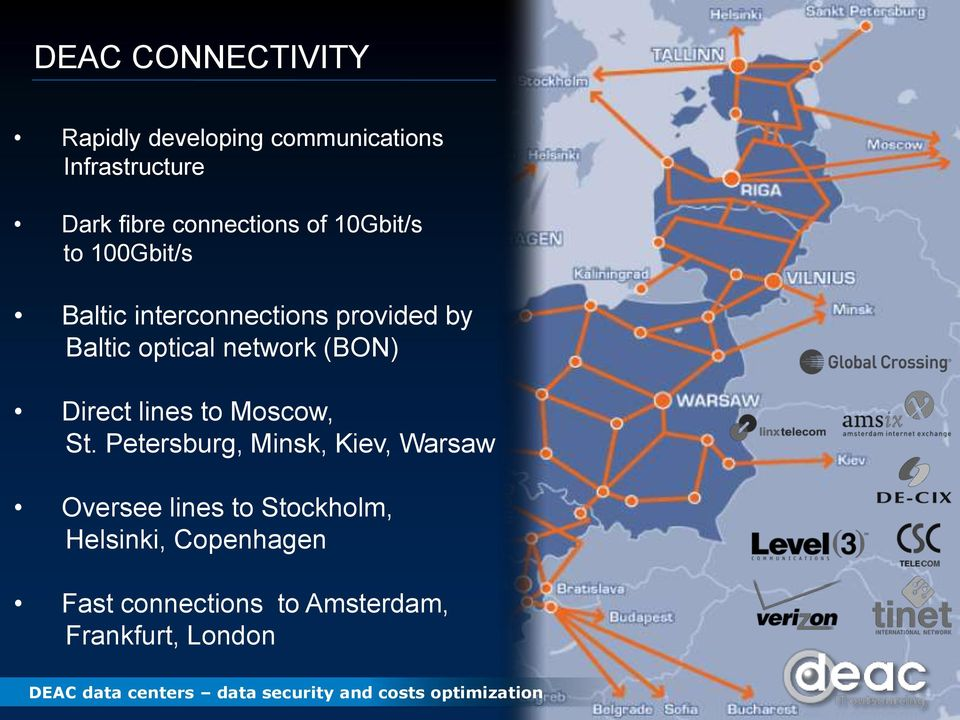 optical network (BON) Direct lines to Moscow, St.