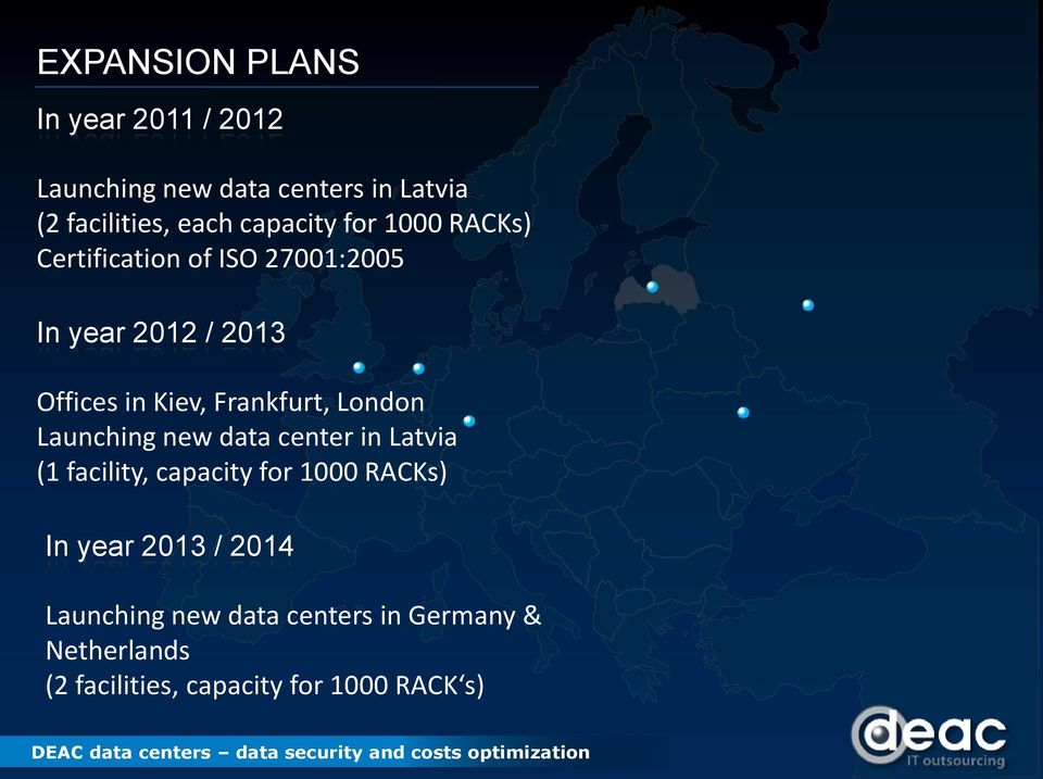 Frankfurt, London Launching new data center in Latvia (1 facility, capacity for 1000 RACKs) In