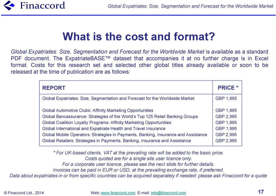 Costs for this research set and selected other global titles already available or soon to be released at the time of publication are as follows: REPORT Global Expatriates: Size, Segmentation and