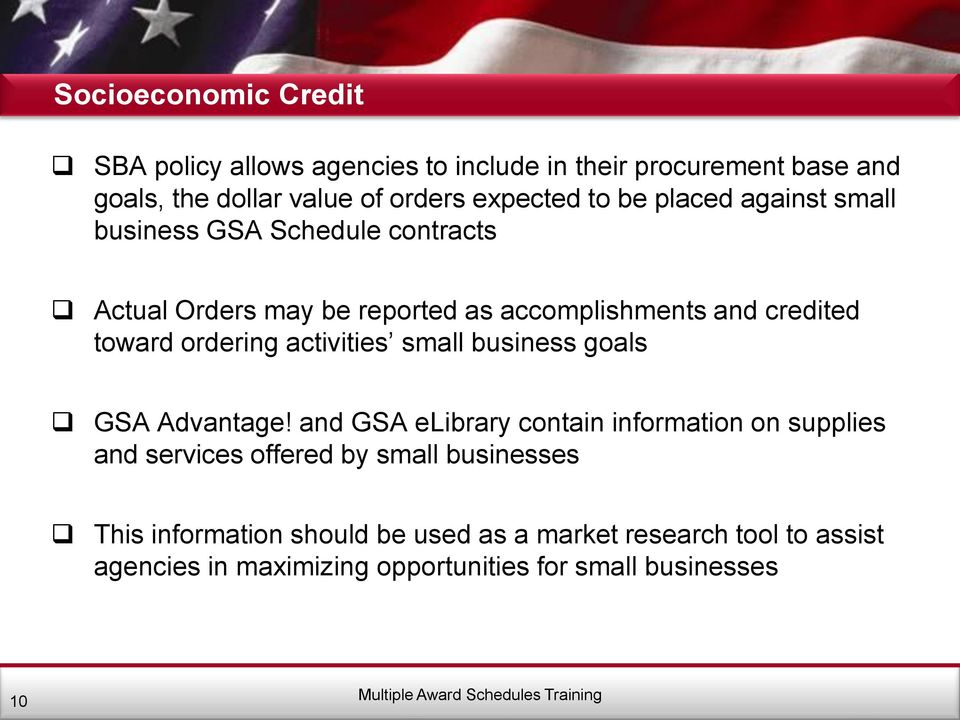 ordering activities small business goals GSA Advantage!