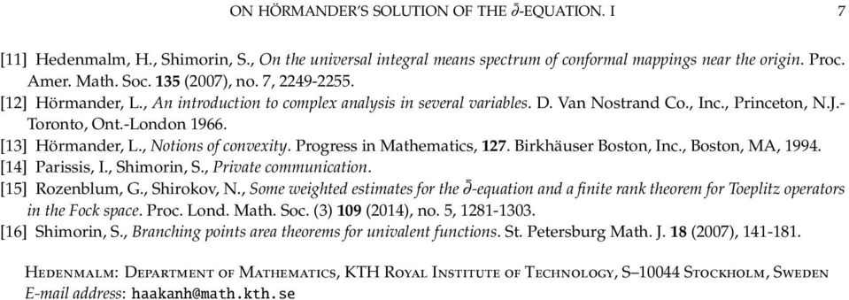 , Notions of convexity. Progress in Mathematics, 127. Birkhäuser Boston, Inc., Boston, MA, 1994. [14] Parissis, I., Shimorin, S., Private communication. [15] Rozenblum, G., Shirokov, N.