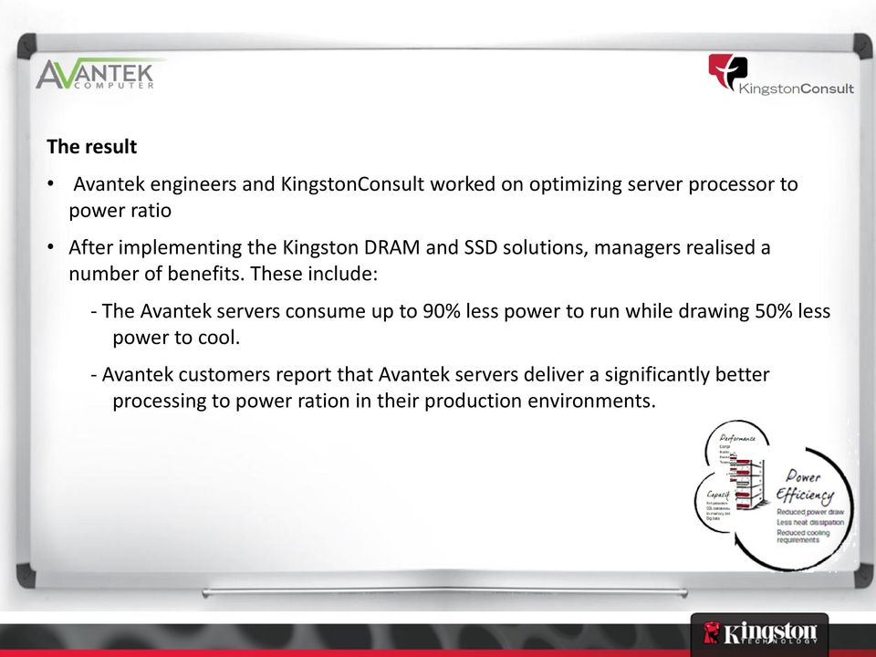 These include: - The Avantek servers consume up to 90% less power to run while drawing 50% less power to cool.