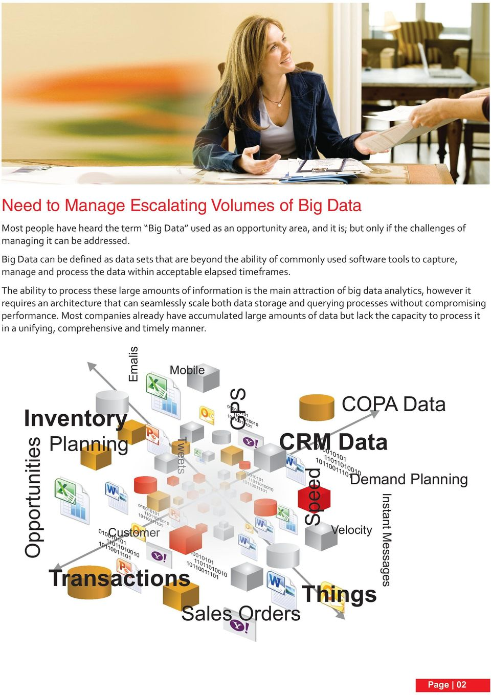 Mobile GPS Planning Tweets CRM Data Customer Transactions Sales Orders Demand Planning Velocity Things Instant Messages Opportunities Inventory COPA Data Speed Emalis The ability to process these