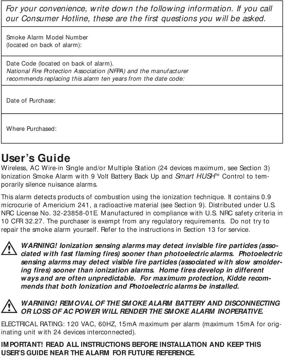 Read And Save This User S Guide Pdf Americium Smoke Detector Circuit Board National Fire Protection Association Nfpa The Manufacturer Recommends Replacing Alarm Ten Years