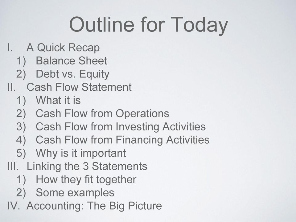 Investing Activities 4) Cash Flow from Financing Activities 5) Why is it important
