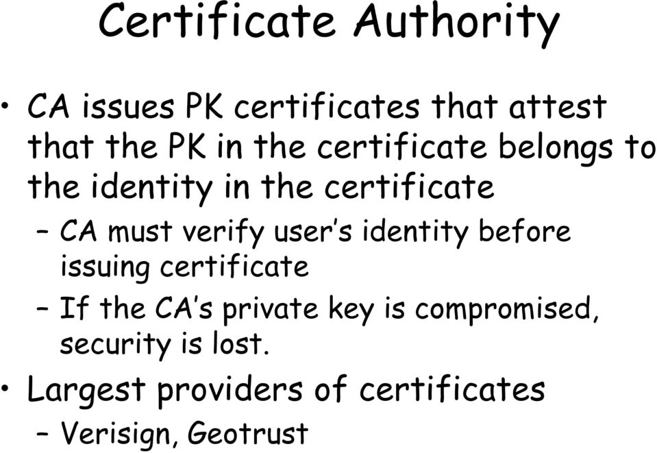user s identity before issuing certificate If the CA s private key is