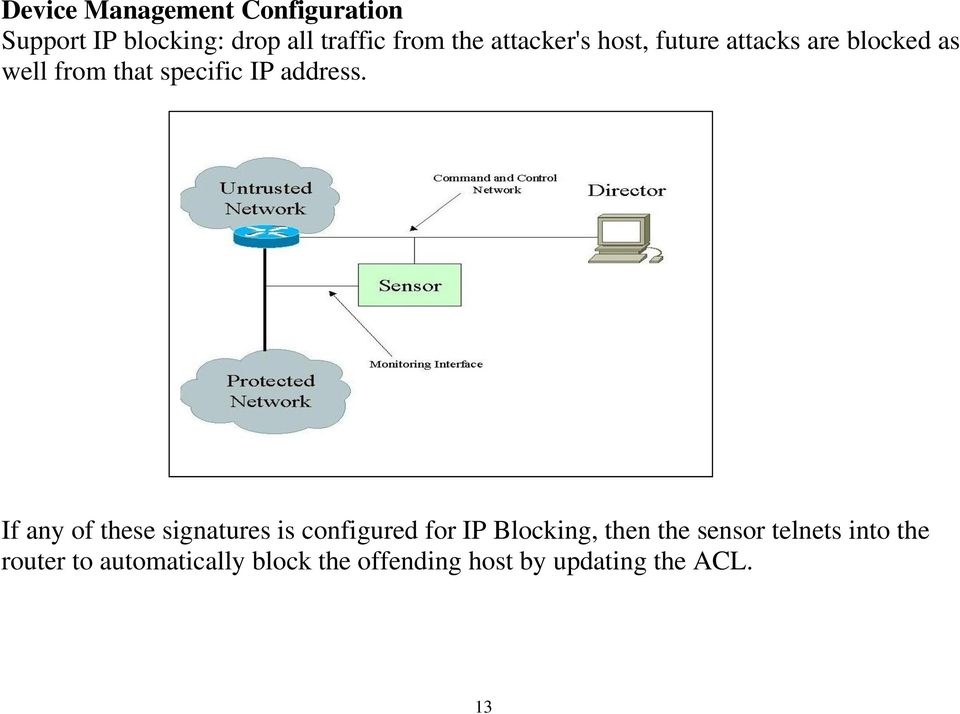 If any of these signatures is configured for IP Blocking, then the sensor telnets
