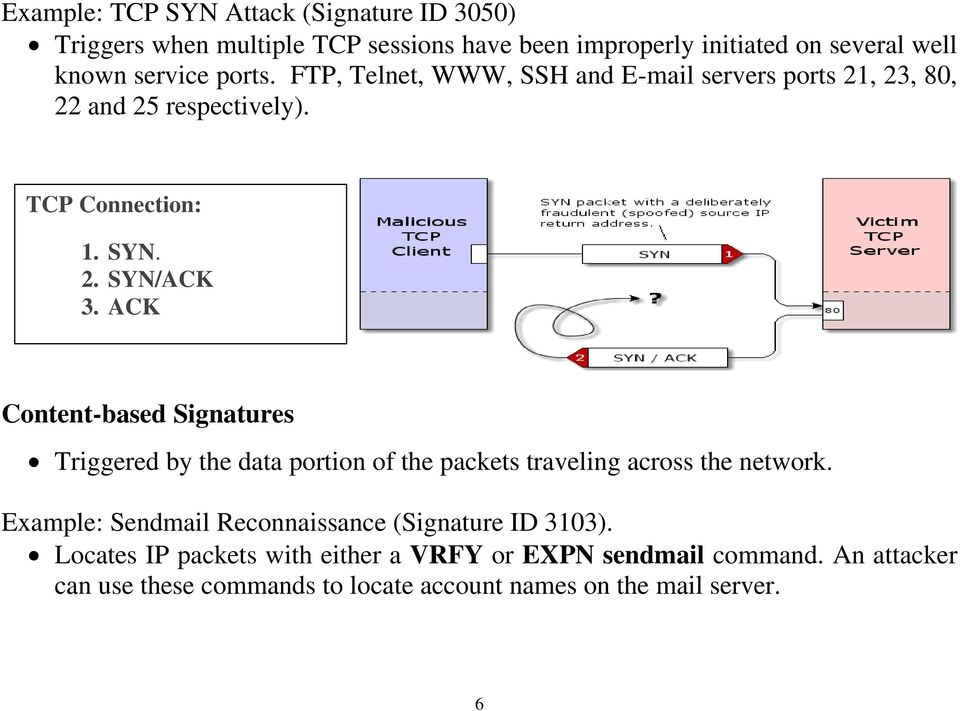 ACK Content-based Signatures Triggered by the data portion of the packets traveling across the network.