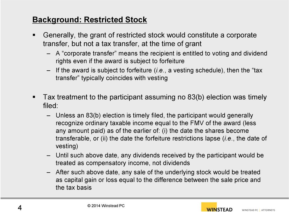 Restricted stock options ordinary income