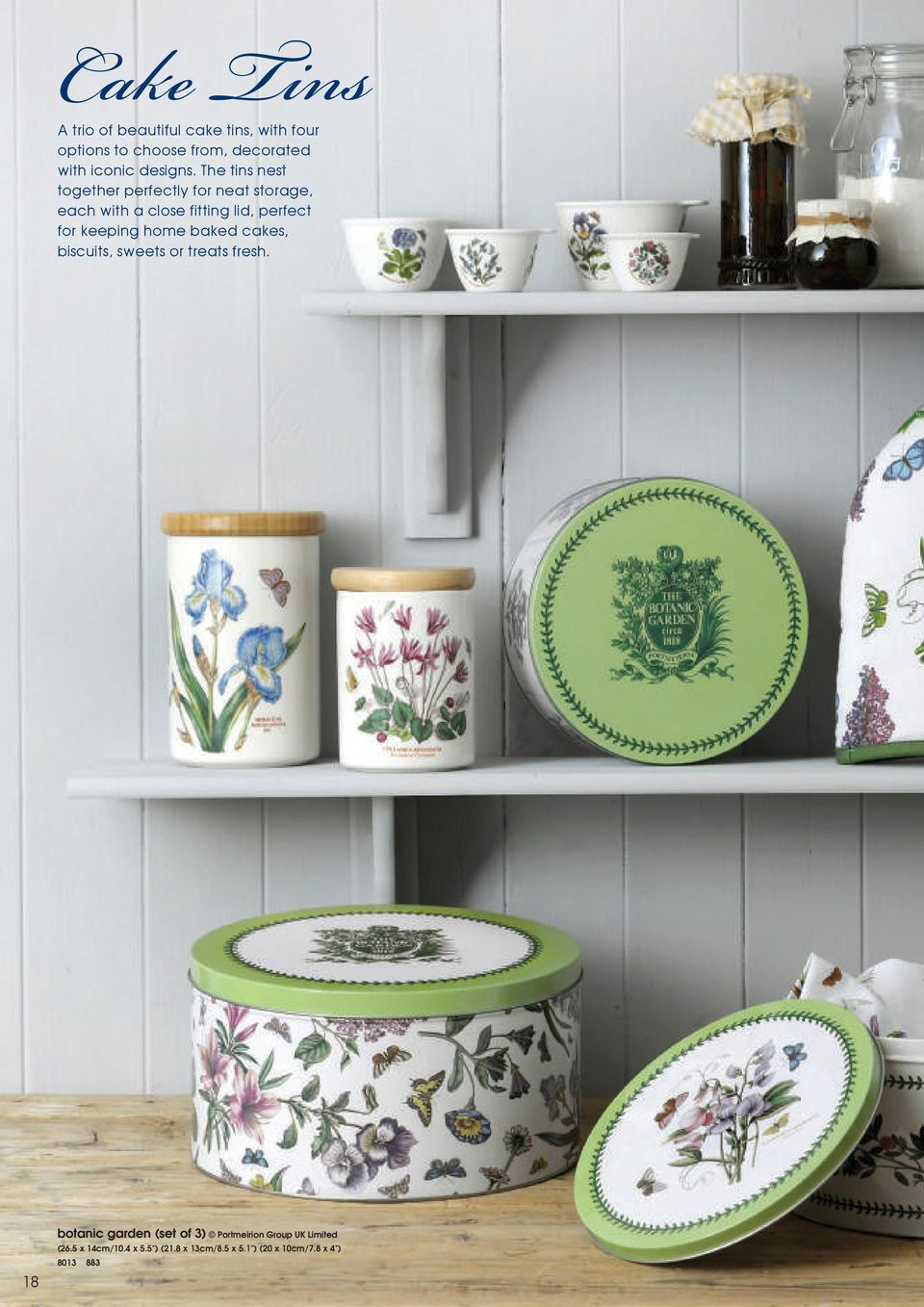 The tins nest together perfectly for neat storage, each with a close fitting lid, perfect for