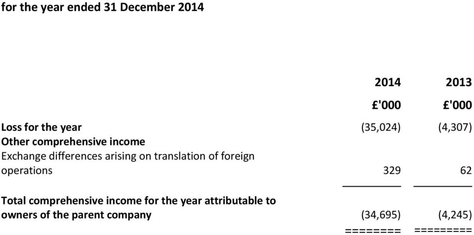 foreign operations 329 62 Total comprehensive income for the year
