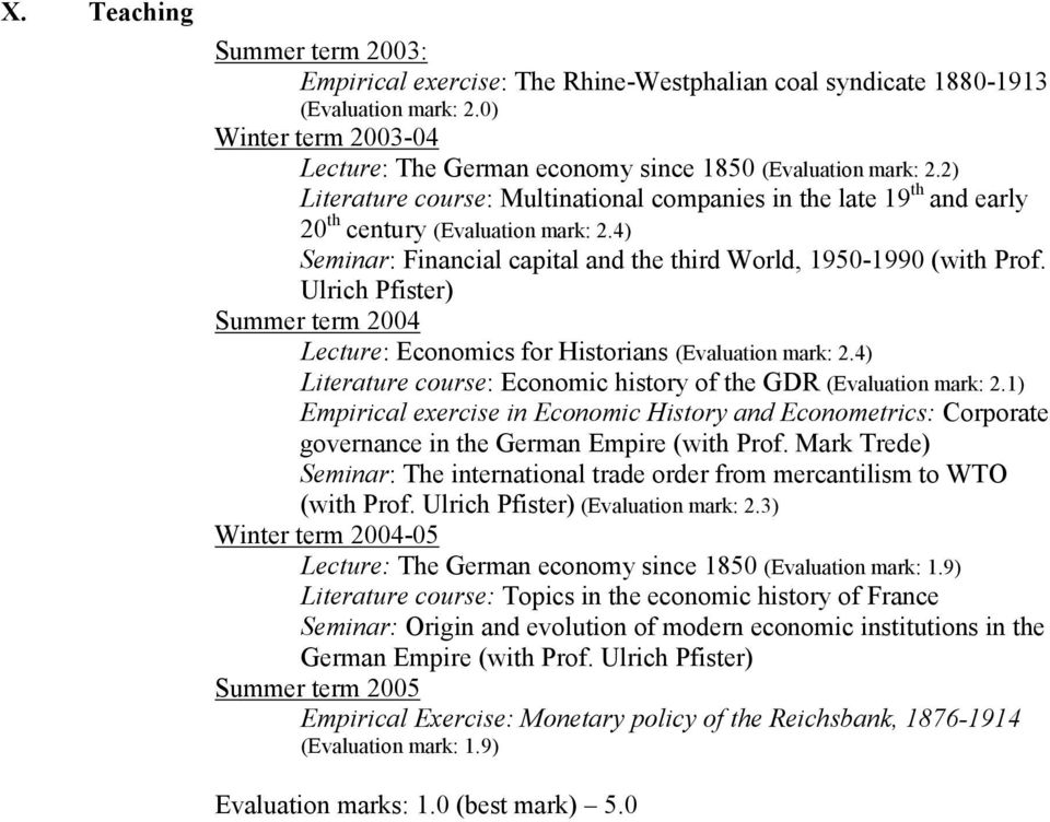 Ulrich Pfister) Summer term 2004 Lecture: Economics for Historians (Evaluation mark: 2.4) Literature course: Economic history of the GDR (Evaluation mark: 2.