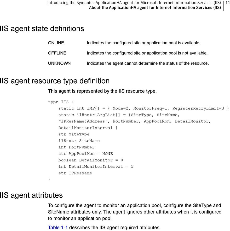 Indicates the agent cannot determine the status of the resource. IIS agent resource type definition This agent is represented by the IIS resource type.