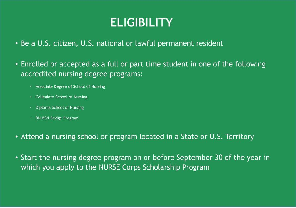national or lawful permanent resident Enrolled or accepted as a full or part time student in one of the following accredited