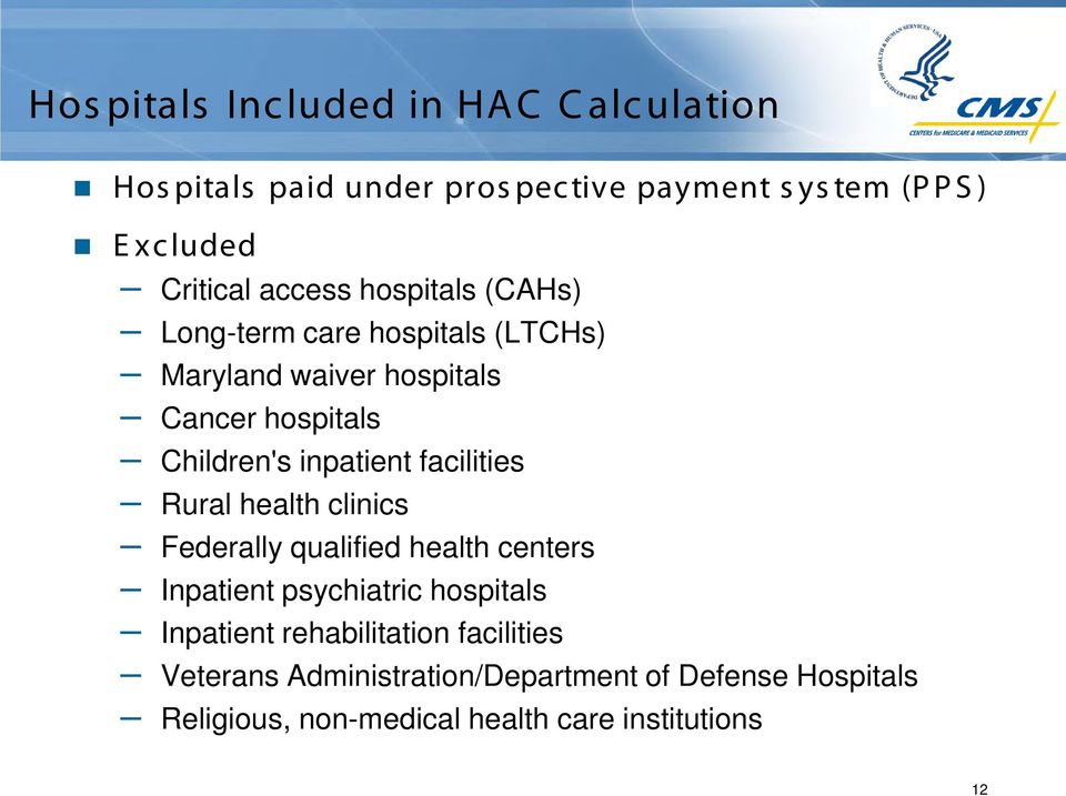 inpatient facilities Rural health clinics Federally qualified health centers Inpatient psychiatric hospitals Inpatient