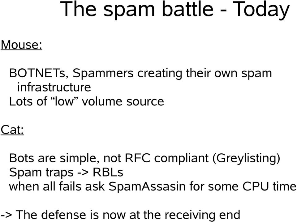 not RFC compliant (Greylisting) Spam traps -> RBLs when all fails ask