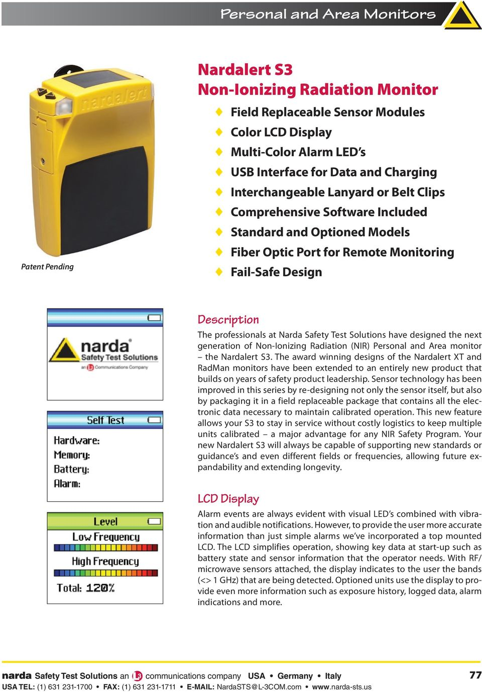 next generation of Non-Ionizing Radiation (NIR) Personal and Area monitor the.