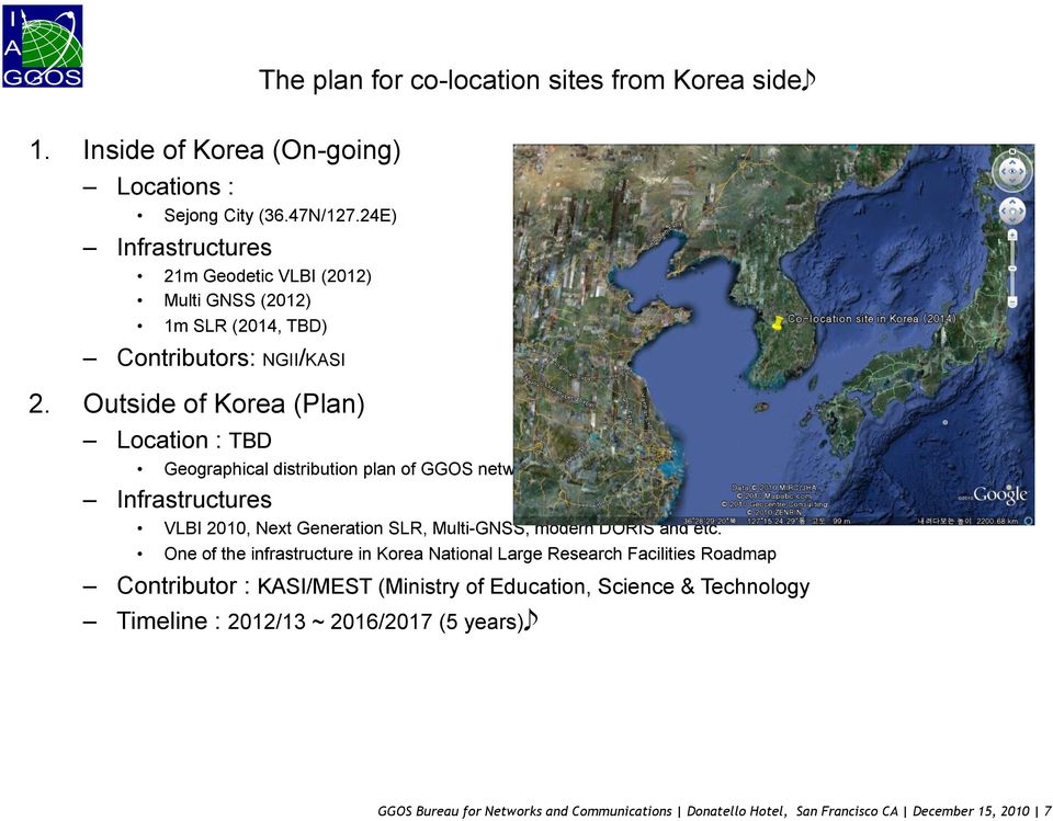 Outside of Korea (Plan) Location : TBD Geographical distribution plan of GGOS network and Korea government Infrastructures VLBI 2010, Next Generation SLR, Multi-GNSS, modern