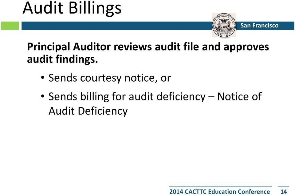 Sends courtesy notice, or Sends billing for audit