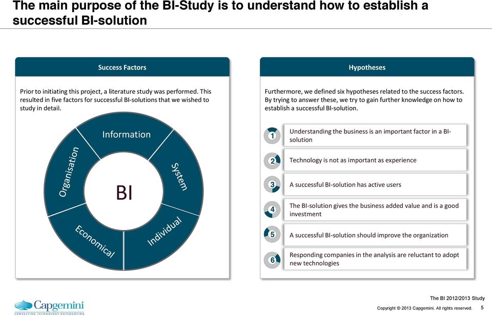 By trying to answer these, we try to gain further knowledge on how to establish a successful BI-solution.