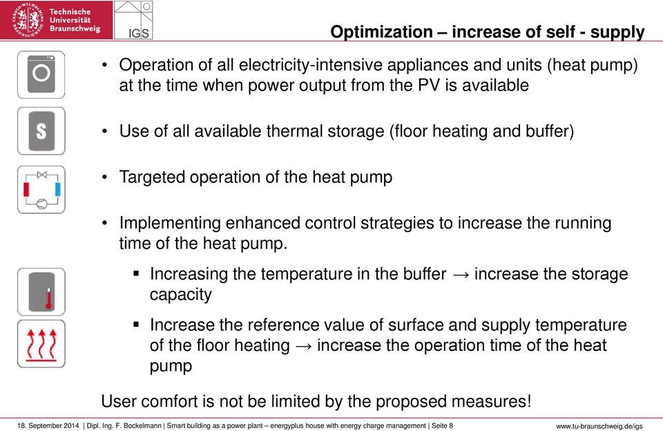 Increasing the temperature in the buffer increase the storage capacity Increase the reference value of surface and supply temperature of the floor heating increase the operation time of the