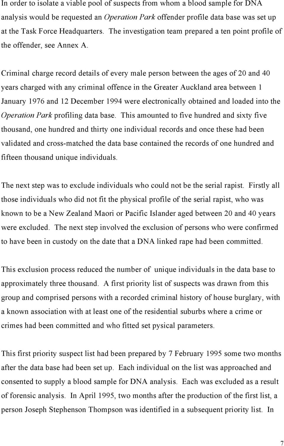Criminal charge record details of every male person between the ages of 20 and 40 years charged with any criminal offence in the Greater Auckland area between 1 January 1976 and 12 December 1994 were