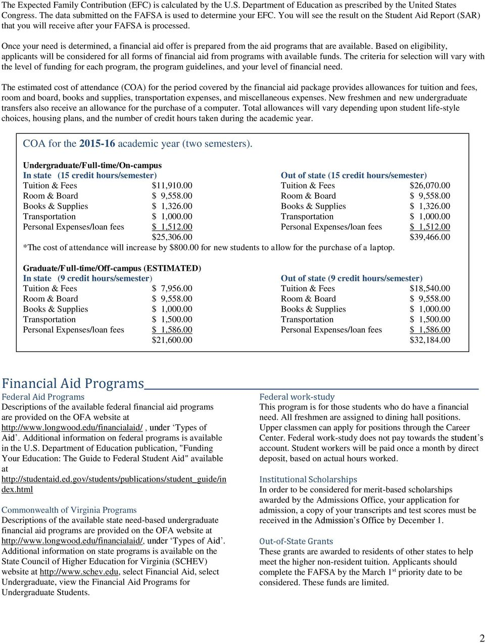 Once your need is determined, a financial aid offer is prepared from the aid programs that are available.