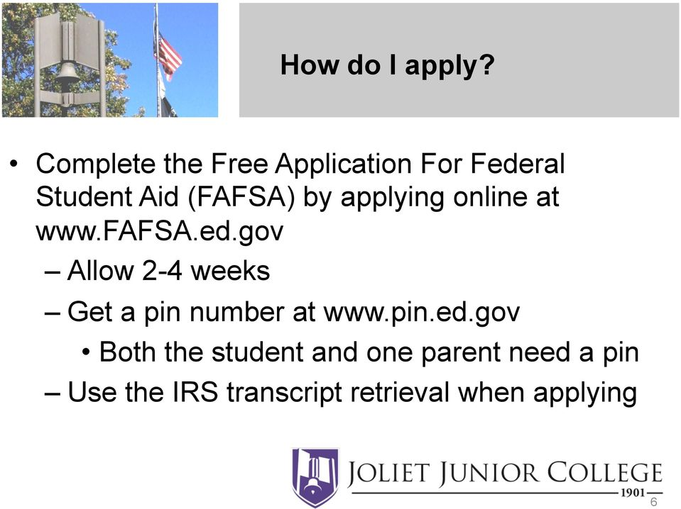 applying online at www.fafsa.ed.