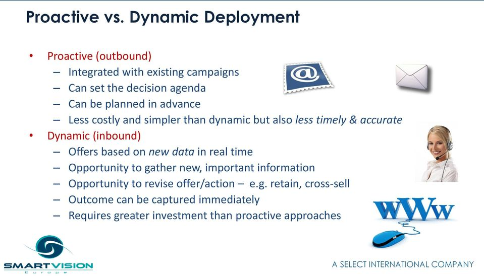 planned in advance Less costly and simpler than dynamic but also less timely & accurate Dynamic (inbound) Offers
