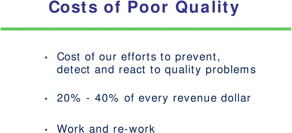 react to quality problems 20% - 40%