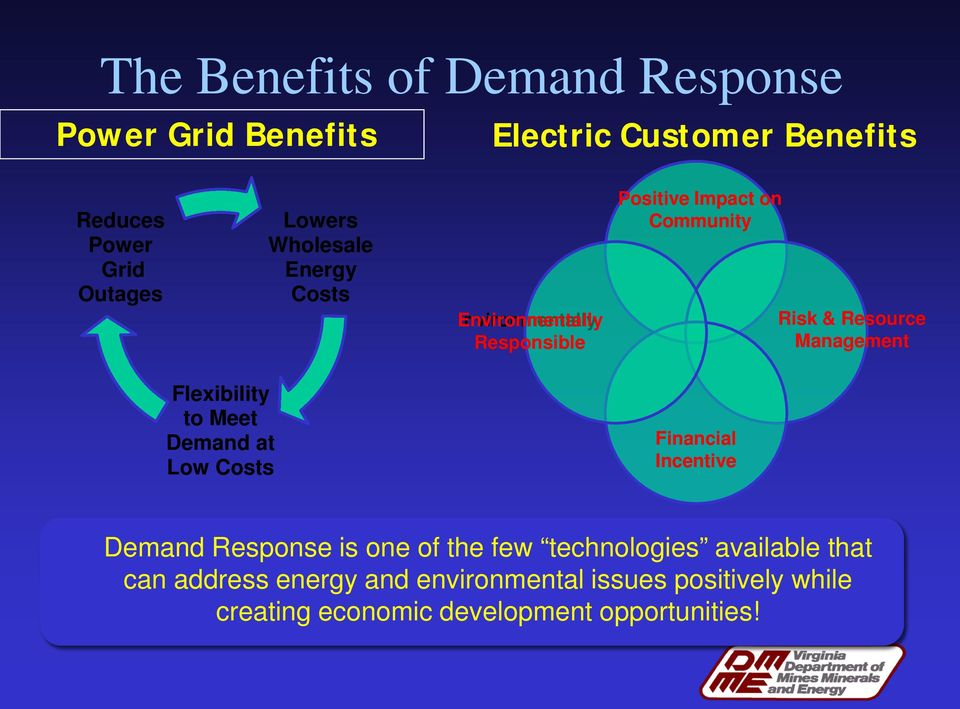 Management Flexibility to Meet Demand at Low Costs Financial Incentive Demand Response is one of the few