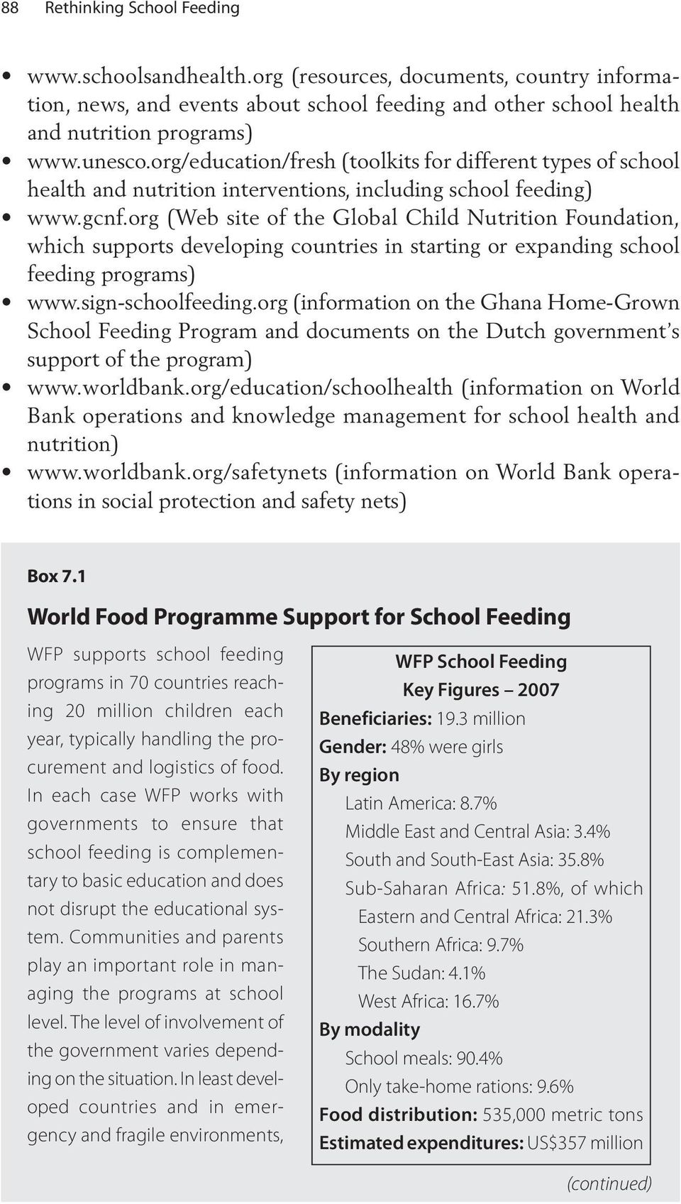org (Web site of the Global Child Nutrition Foundation, which supports developing countries in starting or expanding school feeding programs) www.sign-schoolfeeding.