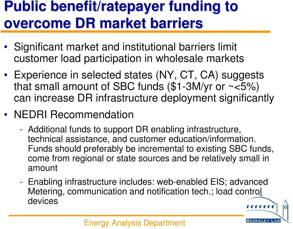 funds to support DR enabling infrastructure, technical assistance, and customer education/information.