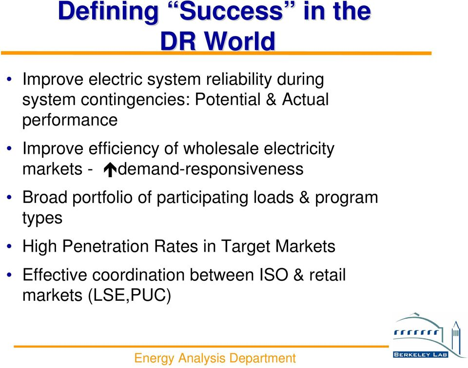 markets - demand-responsiveness Broad portfolio of participating loads & program types