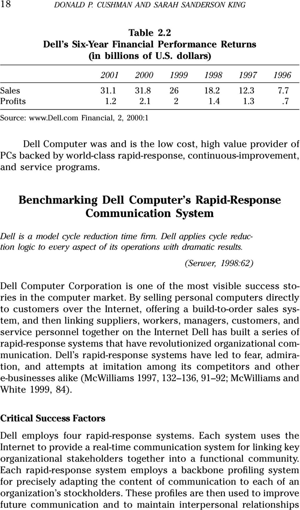com Financial, 2, 2000:1 Dell Computer was and is the low cost, high value provider of PCs backed by world-class rapid-response, continuous-improvement, and service programs.