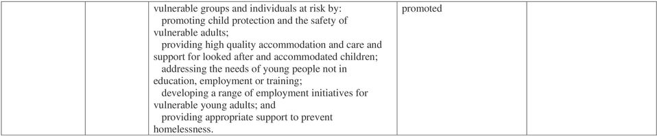 children; addressing the needs of young people not in education, employment or training; developing a range